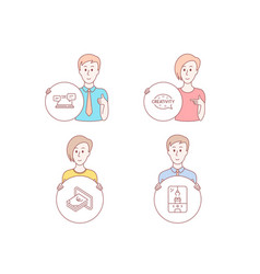 Internet chat creativity and cash icons crane vector