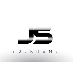 Js black and white horizontal stripes letter logo vector