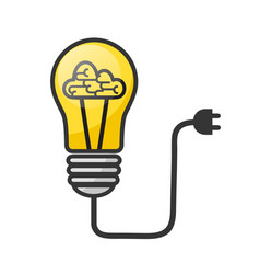 lightbulb with brain - creative sketch draw vector image