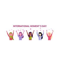 mix race women group raising hands international vector image