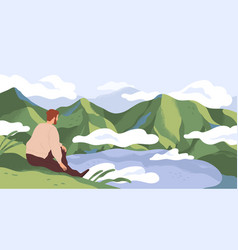 nature exploration and contemplation flat vector image