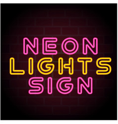 neon lights sign black background image vector image