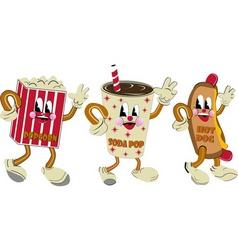Nostalgic hotdog soda pop popcorn vector