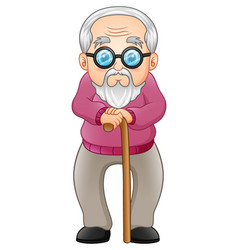 Old man with walking stick vector