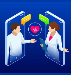 Online medical service isometric concept of vector
