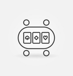 online poker table linear concept icon or vector image