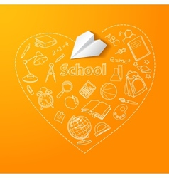 Paper plane and school doodle background vector image