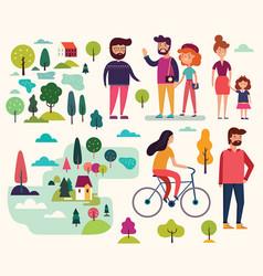 people on walk vector image