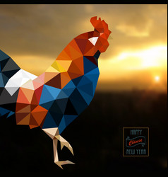 polygonal style rooster on sunrise - symbol of vector image
