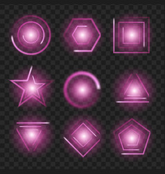 purple glowing lights shape on black transparent vector image