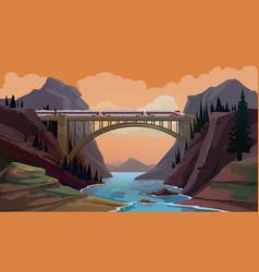 railroad travel passenger train on bridge vector image