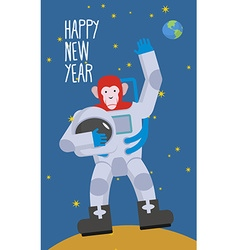 Red Monkey astronaut waving hand Happy new year vector