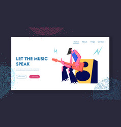 rock guitarist playing on electric guitar standing vector image