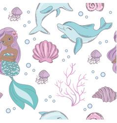 sea mermaid princess seamless pattern vector image