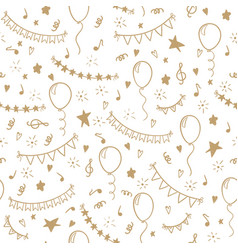 seamless pattern hand drawn doodle cartoon objects vector image