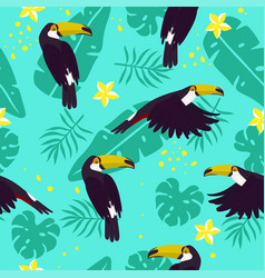 seamless pattern with toucans plumeria vector image