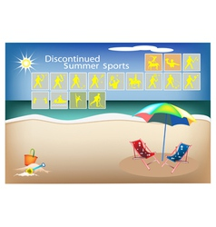 Set of 16 Discontinued Summer Sport Icons vector