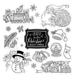 Set of doodles christmas design elements isolated vector