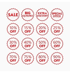 Shopping and retail SALE red line emblems set vector image
