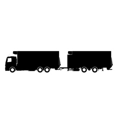 Silhouette of a truck with a trailer vector image