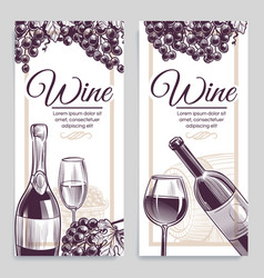 sketch wine banners classical alcoholic drink vector image