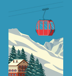 ski resort with red gondola lift chalet winter vector image