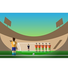 Soccer penalty on football stadium vector image