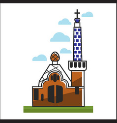 spain church with big gates and high tower vector image