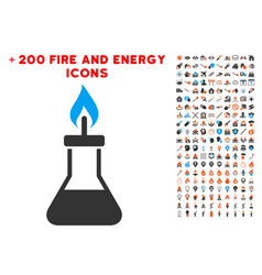 spirit lamp fire icon with bonus flame clipart vector image