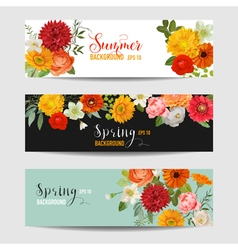 Summer Floral Banners and Tags Set vector image