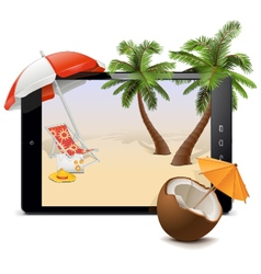 Tablet PC with Tropical Resort vector image