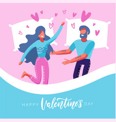 tender lovers in bed valentine morning embrace vector image