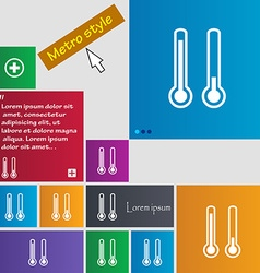 Thermometer temperature icon sign buttons Modern vector