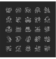 Tourism chalk white icons set on black background vector