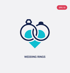 Two color wedding rings icon from love wedding vector