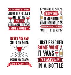 Wine saying quote set vector