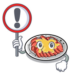 With sign carpaccio is served on cartoon plates vector