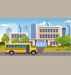 yellow bus on road in front school building vector image