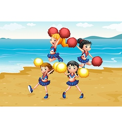 A cheering squad performing at the beach vector image vector image