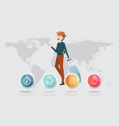 a man with smart phone and luggage on map vector image vector image
