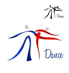 Flowing stylized dancing couple icon vector image