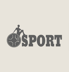 woman silhouette on sport text vector image vector image