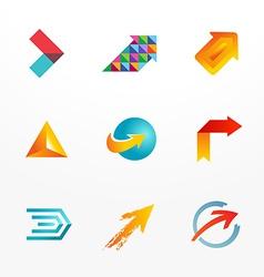 Arrow symbol logo icon set Collection of colorful vector image vector image