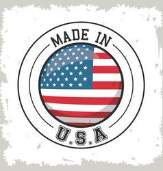 made in usa flag button design vector image