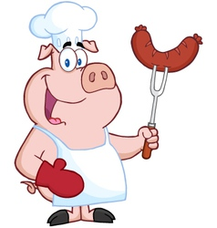 Pig Chef Cartoon Character With Sausage On Fork vector image vector image
