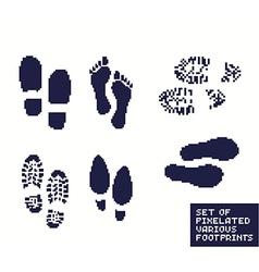 Pixel footprints vector image vector image
