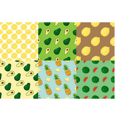cartoon fresh fruits in flat style seamless vector image vector image