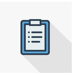 clipboard to-do list plan thin line flat icon vector image vector image