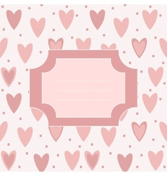 Cute unique post card with pink hearts and dots vector image vector image