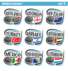 flags of ice hockey national teams vector image